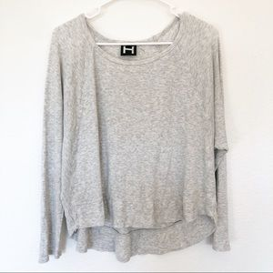 H by Bordeaux | Heather Gray Scoop Neck Ruffle Top